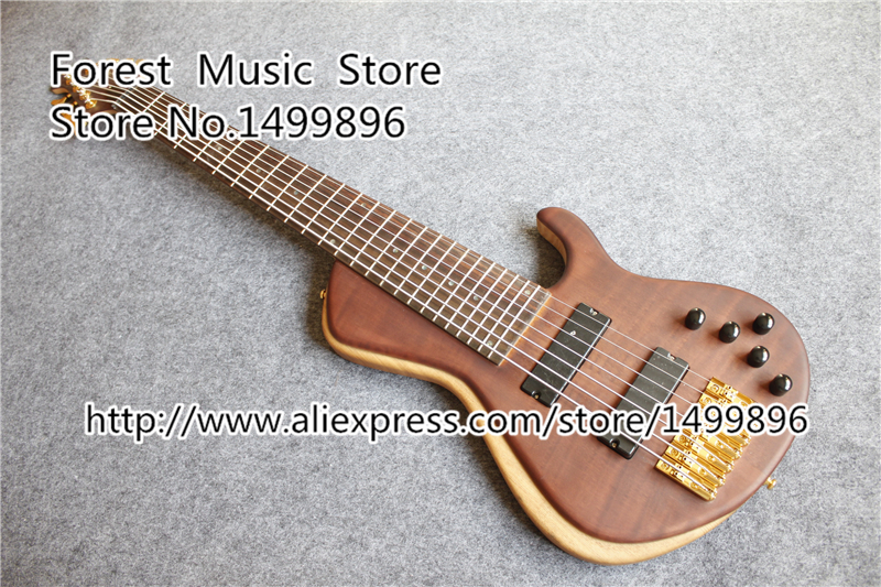 China Custom Shop 7 String Electric Bass Guitars Gold Hardware Bass For Sale china custom shop transparant grey finish lp electric guitars with mahogany solid body for sale