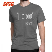 Game Of Thrones T Shirt for Men Hodor Hold The Door Design Tops Short Sleeve Graphic T-Shirt O Neck 100% Cotton Tees Plus Size