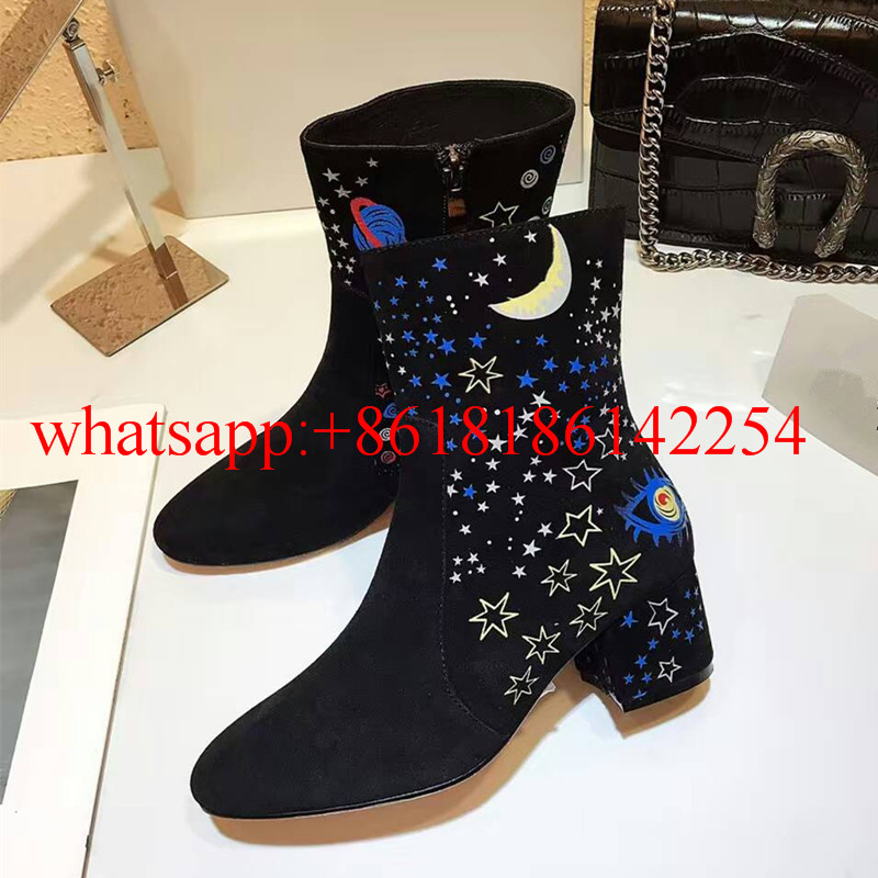 2016 New Arrivals Women Thick Heels Ankle Boots with Embroidered Star Map Over the Knee Leather Boots Female Knight Boots