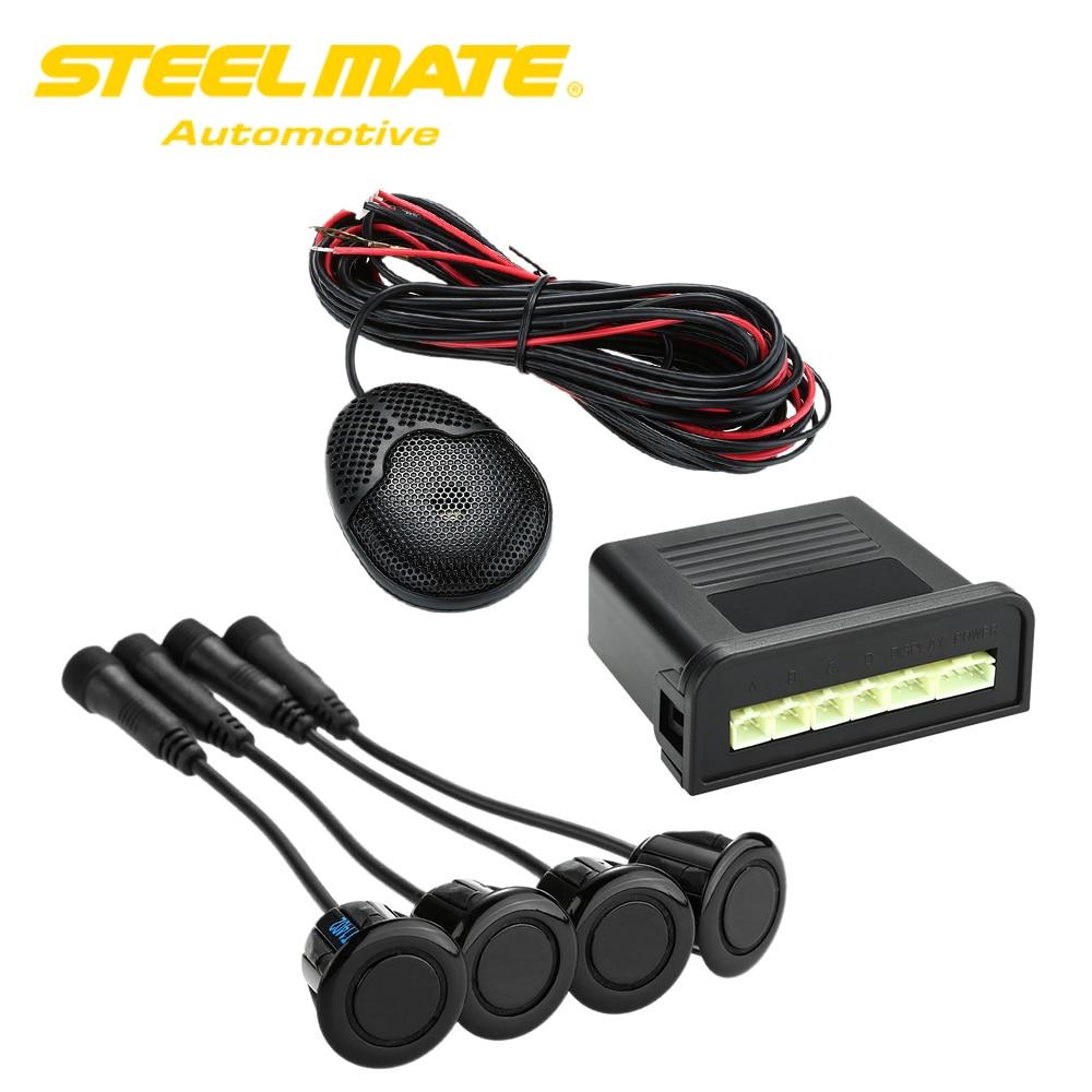 Steelmate Ebat C1 4 Sensors Parking Assist System Car Parking Sensor Reverse Radar Alert System External Audible Buzzer Speaker new set 4 9288230 pdc parking distance sensor reverse assist for bmw 0263013972