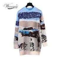 Luxury designer 2018 New Winter Women Car Beach Pattern Sequins Sweaters Ladies Pullovers Female Warm jumper Shining C 313