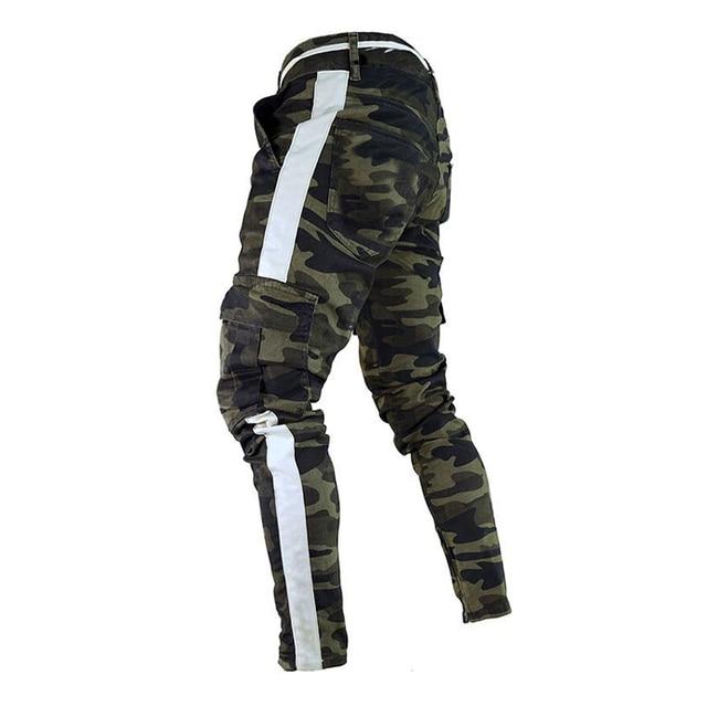 ดีทำงานทหาร Cargo Camo ต่อสู้กางเกงพลัสขนาดด้านข้าง Stripe HIP POP สไตล์ Streetwear ผู้ชายกางเกง Casual Camouflage streetw