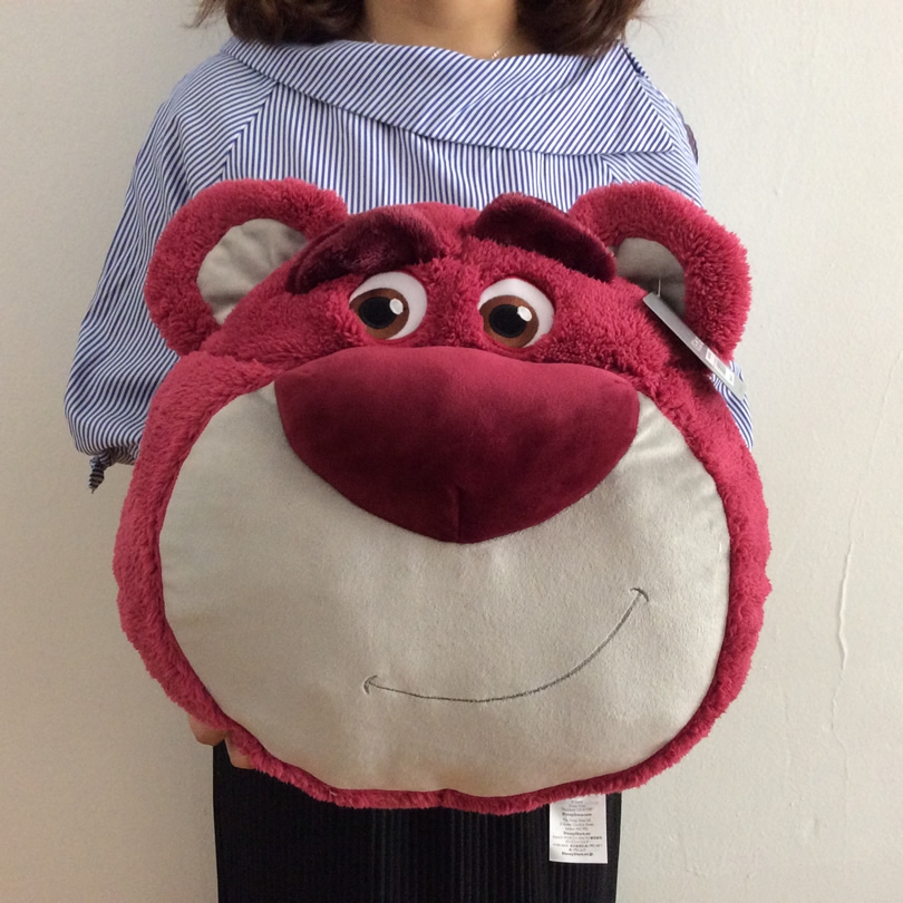Free Shipping 40cm 15.7'' Toy Story Lotso Strawberry Bear Head Plush Pillow Toy Stuffed Bear Cushions Super Soft doll for gift 20 25 35 45cm super lovely polar bear family stuffed plush placating toy gift for children