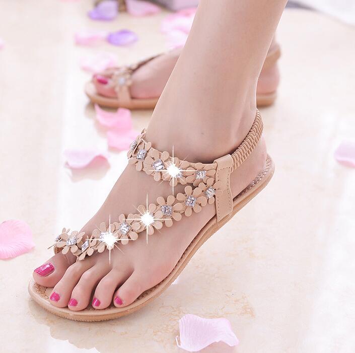 9fcc637b444e Liser Women Sandals Summer Bling Broken Flowers Rhinestone Fashion ...