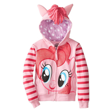 Retail New 2015 Fashion Girls Big Size Children Outerwear little Pony Jackets Coat Hoodies Clothing Roupas Infantil in stock