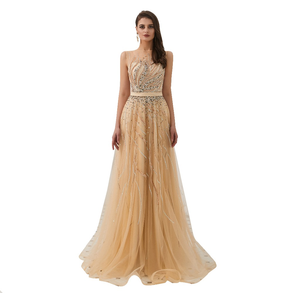 Sweet Long   Evening     Dress   2019 Romantic Vestido De Festa Beading Formal   Dress   Prom   Dresses   Robe De Soiree 82318