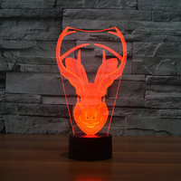Creative Moose Head Modelling Table Lamp Gift Decor 3D Vision Deer Horn Lampara LED USB 7 Colors Changing Baby Sleep Night Light