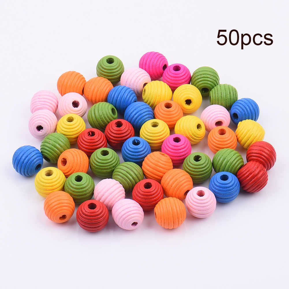 50pcs/pack DIY toy accessories for Parrot  Multipurpose DIY Bird Toy Accessories Colorful Beehive Wood Beads decorations