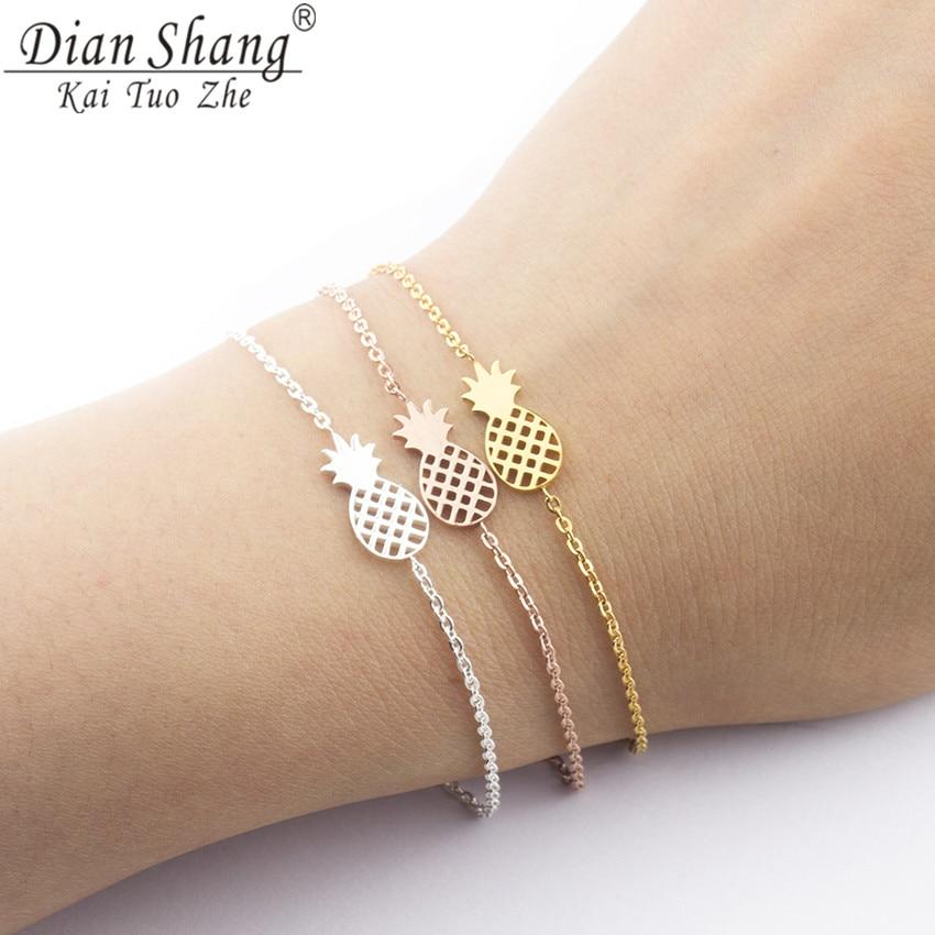 DIANSHANGKAITUOZHE Stainless Steel Fruit Jewelry Pineapple Charm Bracelets Women Rose Gold Chain Ocean Beach Bangles Female