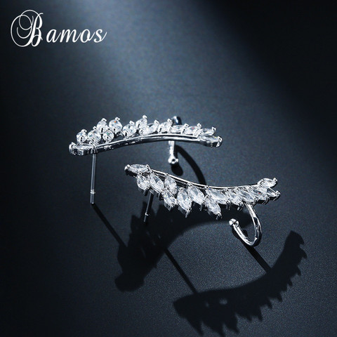 Bamos New Unique Design Silver/Yellow/Rose Gold Filled Double Wings Stud Earrings For Women Sparkling White AAA Zircon Earrings Multan
