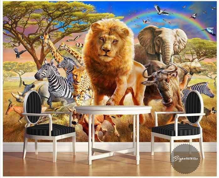 Personalizado 3d papel de parede murais 3d papel de parede mural dos desenhos animados céu azul arco-íris elefante zebra mundo animal crianças pintura