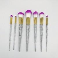 7pcs Sets New Hot Makeup Makeup Brush 7 Crystal Handle Diamonds Colorful Makeup Brush New Unicorn