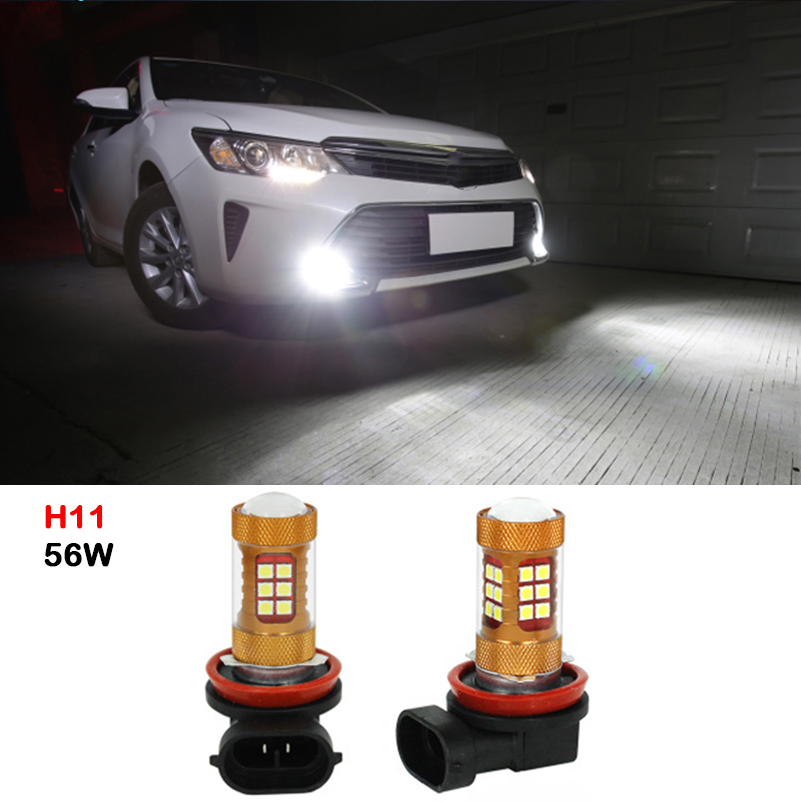 2pcs LED H11 56W 6000K Car Lights 12V Car Driving Fog Light Lamp Bulb Daytime Running Light DRL White For Toyota Camry 2007-2014 lyc fog light universal led for car lights car led driving lamps daytime running light switch automatic for toyota drl led lamp