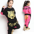 2016 Brand Girls Autumn Spring Clothing Set Print Tiger Long Sleeve Hooded Jacket Hip Hop Harem Pants Girls School Clothing Set