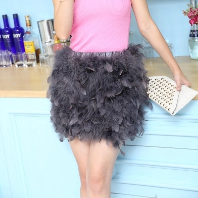 Colors Real Ostrich Feather furry Fur mini skirts hairy chest wrap bra girl size