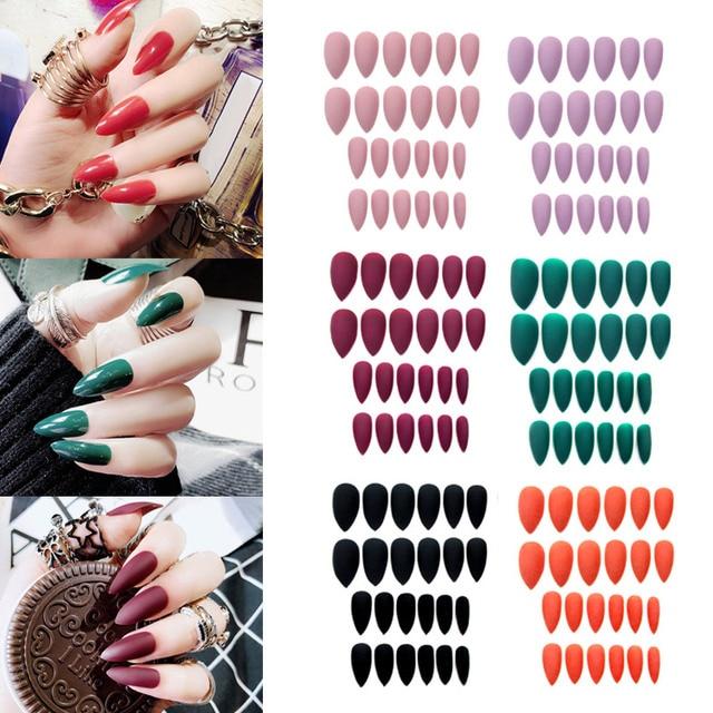 24 piezas de uñas postizas largas cubierta completa de uñas artificiales Consejos de Arte conjuntos para bailarina Cosplay niñas mujeres