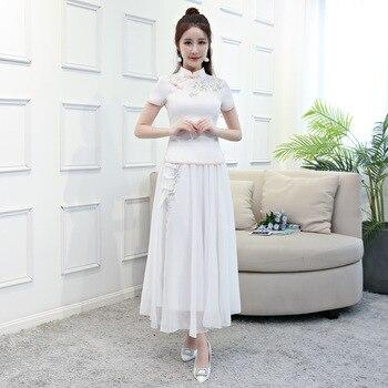 fe137f71d9 2018 Blanco chino Vintage blusa falda conjuntos para mujer manga corta  cuello mao camisa 2 pc cheongsam ropa de verano vestido Qipao