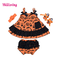 Halloween Baby Girls 4 pcs Sets Newborn Dress Sling Bat Shirt Ruffle Bloomers Skull Print Swing Top Clothes 2016 New stlye