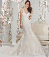 Free Shipping Hot Sale New Images Mermaid V Neck V Back Pleat Sweep Train African Wedding Dresses With Appliques ST11400