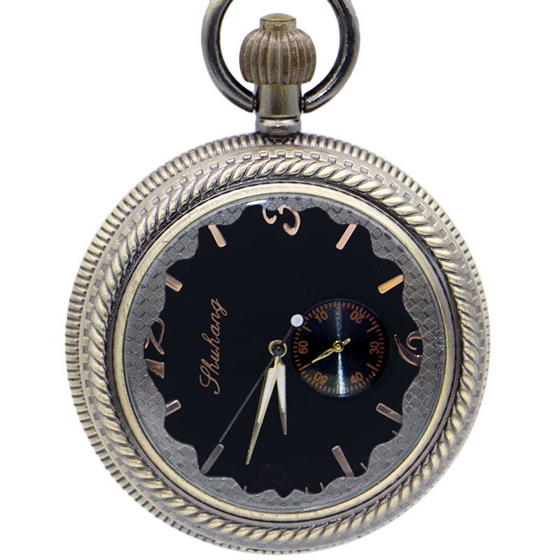 New Fashion Black Dial Mechanical Pocket Watches FOB Chain Watches Chain Steampunk Best Gift For Men Women PJX1409