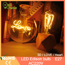 LED Bulb E27 Retro Filament lamp dimmable 220V Holiday Lights A60 ST64 G80 G95 G125 3D Decoration Christmas