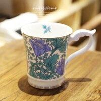 1pcs Cartoon Tulip Bone China Mugs Ceramics Coffee Milk Breakfast Cup Drinkware Cute Xmas Gift Free Shipping