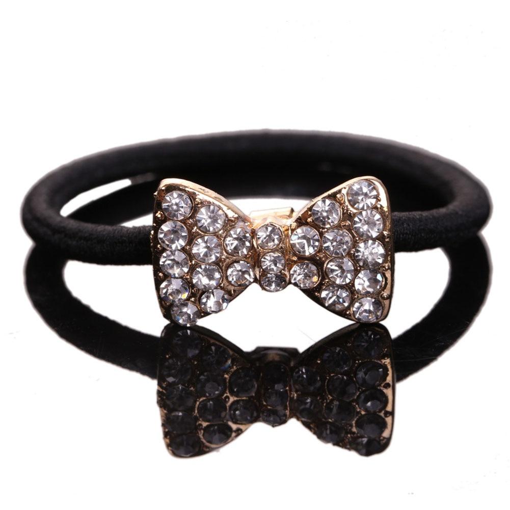 New Fashion Women Headwear Hair Accessory Korean Jewelry Rhinestone Bow Dog Crown Hair Rope Hairband  LB