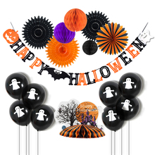 24pcs Halloween Party Decoration Set Haunted House Table Centerpiece Honeycomb Ball Balloons Happy Accessories