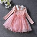 Elegant Princess Girls Dress For Wedding Flowers Appliques Pears Girl Dresses Baby Children Clothes Dress Pink 3-9T