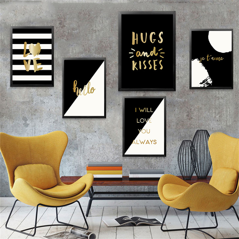Gold Black White Quote Modern Home