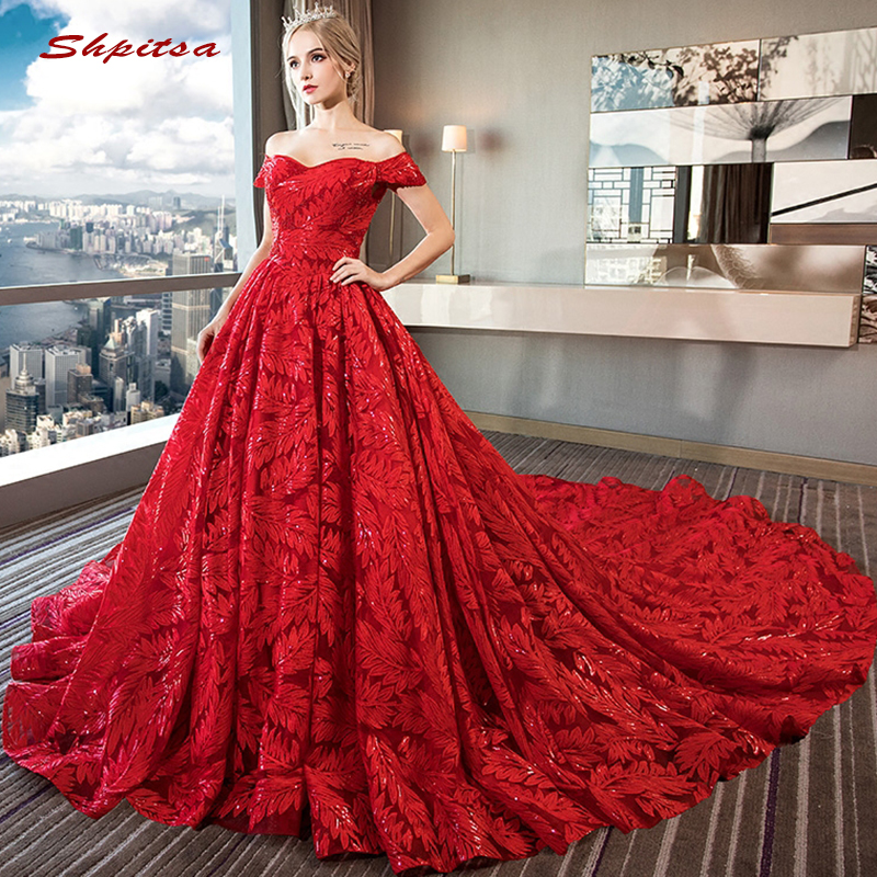 Red Lace Wedding Dresses Turkey Crystals Sequin Plus Size Bride Bridal Weding Weeding Dresses Wedding Gowns 2019