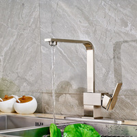 Newly Product Fashionable Design Brushed Nickel Deck Mounted One Handle Kitchen Faucet
