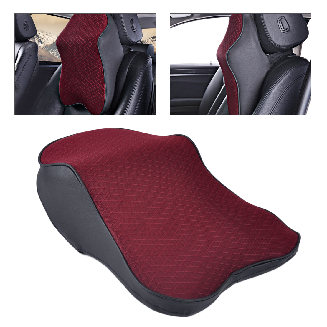 Dwcx car seat soft headrest memory foam pad pillow head neck rest support cushion travel for