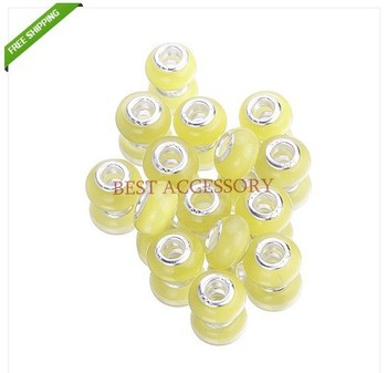 Hot Items!!! 500pcs/lot Yellow Opal Cat Eye Charms Big Hole Bead Fit Bracelets Beads Dia.:14mm Hole Dia.:5mm