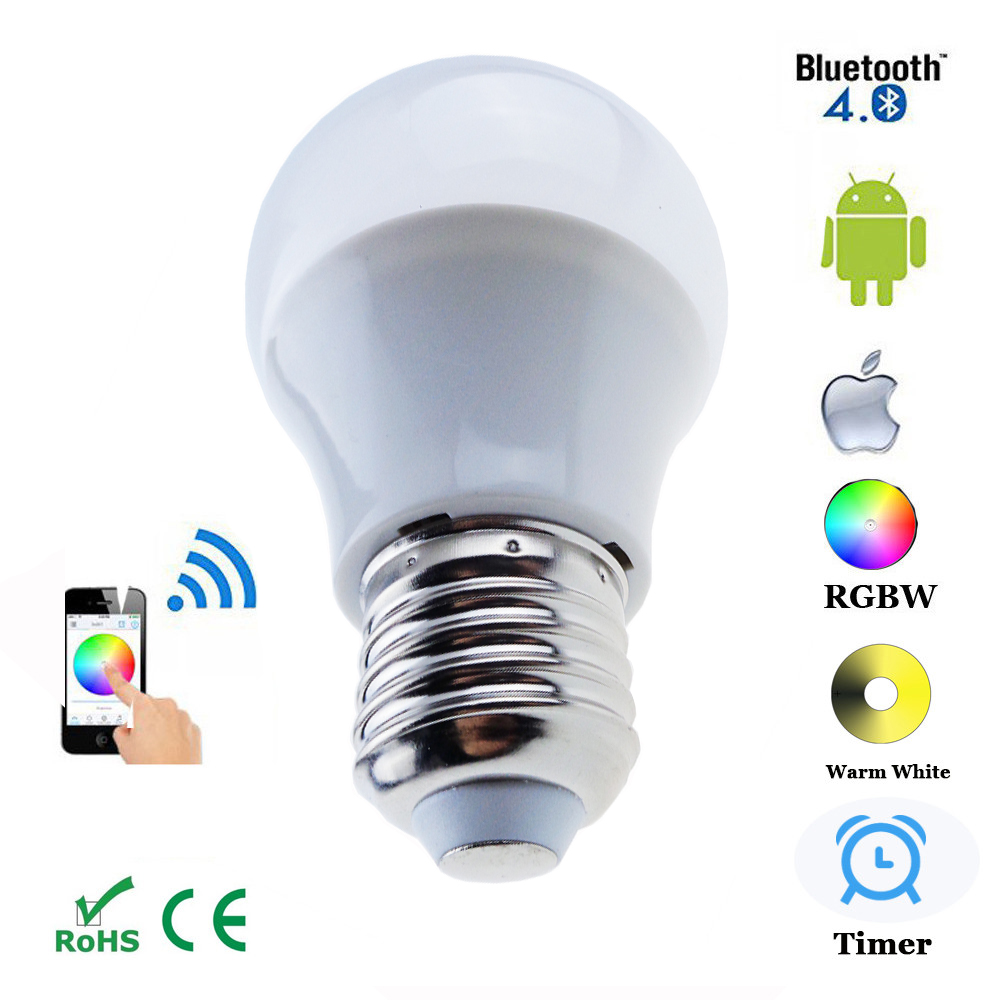 Bluetooth wireless led rgbw bulb smart home 5w ac110v 240v led lamp tvoya Smart light bulbs
