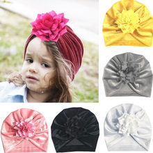 New Fasion Cute Baby Girls Boys Bow Turban Hat Toddler Kids Head Wrap Head band Cap Golden Velvet lotus leaf flower Indian hat(China)