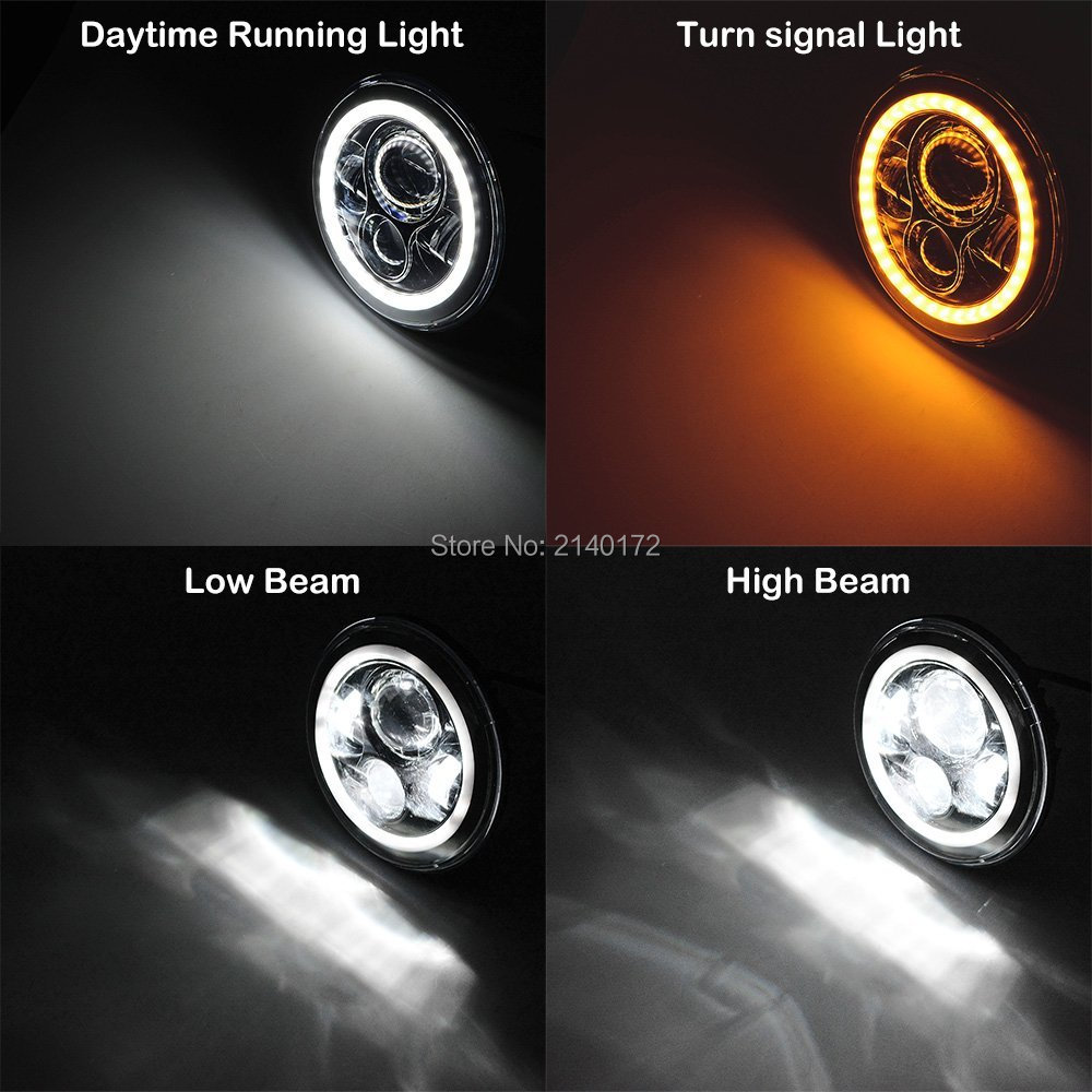 Round 7INCH 40W <font><b>LED</b></font> Projector <font><b>Headlight</b></font> H4 H13 Headlamp with White to Amber for Jeep Wrangler JK CJ Hummer