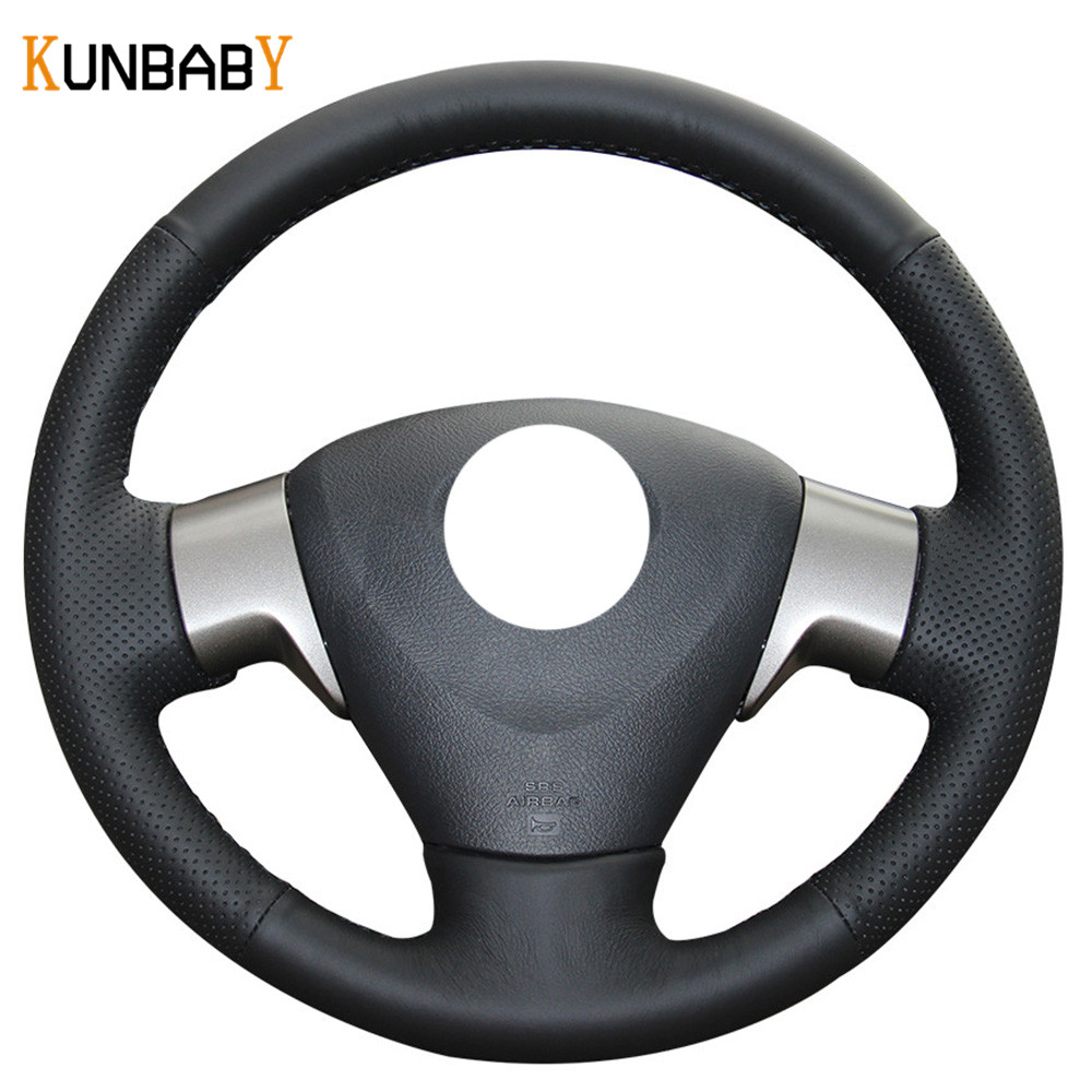 Kunbaby color black red genuine leather car steering wheel cover for toyota corolla 2006 2010 matrix 2009 auris 2007 2009