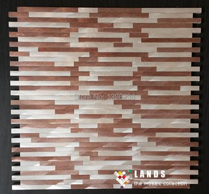 Silvery Brown 3D Aluminum alloy metal mosaic tiles for kitchen baclesksplash fireplace wall border mosaics Free shipping!LSALJ02 copper brown resin sticker fireplace kitchen backsplash wall tiles vintage drawbench metal mosaic meshback home wallpaper lsrn03