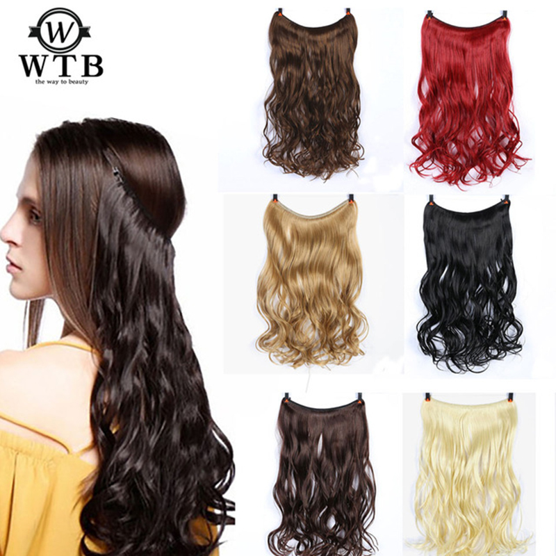Synthetic Extensions Wtb Women Invisible Fish Wire Long High Temperature Fiber Synthetic Hair Extensions Dark Brown Light Brown Red Synthetic Clip-in One Piece
