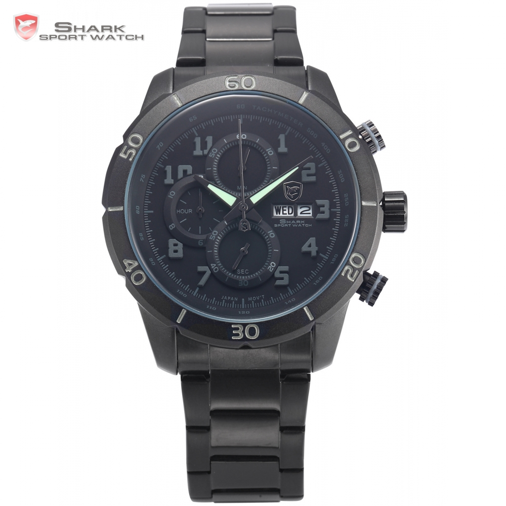 Gummy Shark Sport Watch Men Grey Round Case Analog Date Calendar Stopwatch Stainless Steel Band Gift Box Quartz Wristwatch/SH312
