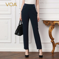 VOA плюс Размеры 5XL тяжелый шелк офисные шаровары Темно синие Для женщин брюки краткое Повседневное середине талии тонкие длинные Pantalon Весна