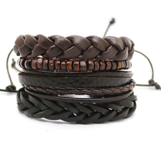 1 Set 4PCS leather bracelet Men's multi-layer bead bracelet women's retro punk casual men's jewelry bracelet jewelry accessories 2