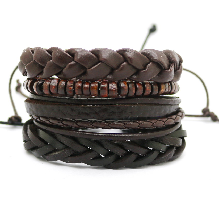 1 Set 4pcs Leather Bracelet Men S Multi Layer Bead Women Retro Punk Casual Jewelry Accessories In Chain Link Bracelets