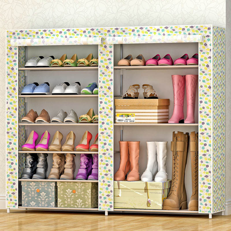 Multi-layer simple shoe thickened non-woven stainless steel shoe rack can put the boots can be freely assembled home furniture 4 layers of simple dust proof moisture proof shoe rack thick non woven stainless steel shoe free assembly of home furniture
