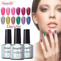 FairyGlo Bling Gel Nail Polish 12pcs Lot Neon Gel 10ml UV LED Lamp Soak Off Vernis