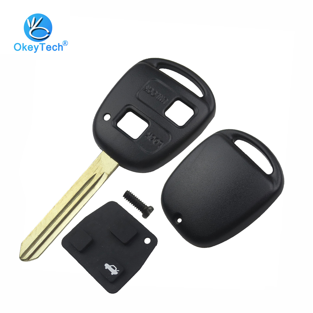 OkeyTech 2 Button Uncut Toy47 Blade with Rubber Button Key Pad Shell for Toyota Camry RAV4 Prado Corolla Tarago Avensis Avalon
