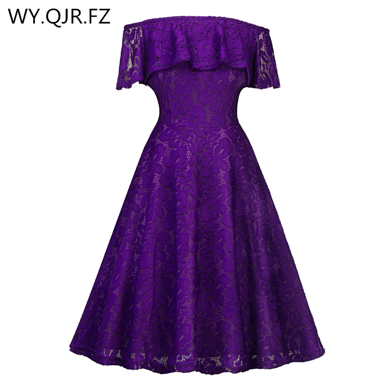 1d6e64bf08c SZSY1846Z Boat Neck lace short Deep purple Bridesmaid dresses wedding party dress  gown prom cheap wholesale fashi women clothing-in Bridesmaid Dresses from  ...