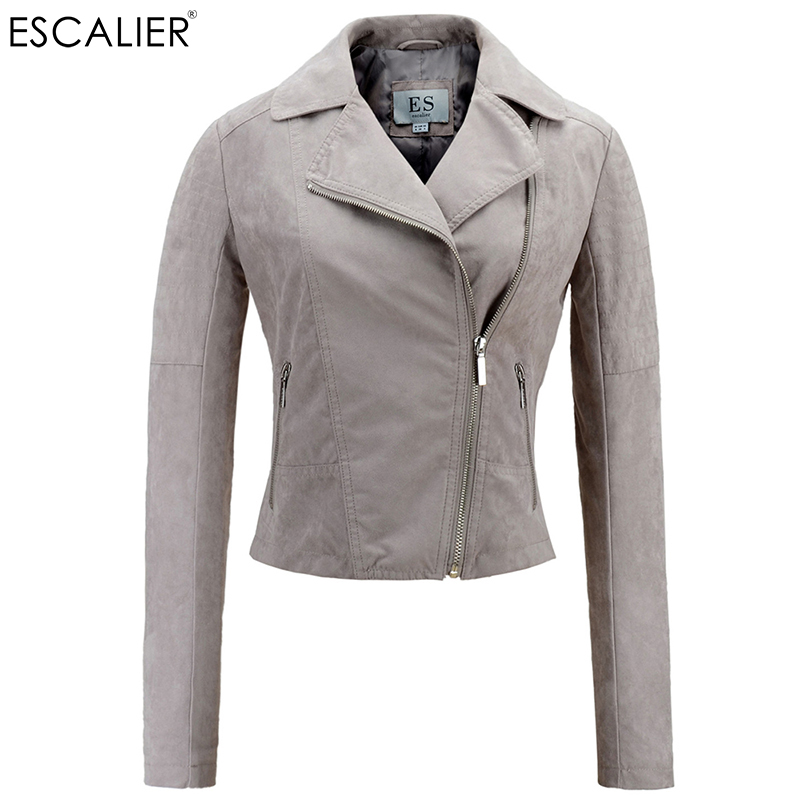 Escalier Fashion Casual   Jacket   Ladies Solid Suede Pocket Zipper Slim Full Faux Leather Motorcycle Winter   Basic     jacket   Coats