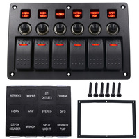 3 PIN 6 Gang 12v 24v Red Led Car Marine Boat Rocker Switch Panel Circuit Breakers
